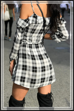 OFF SHOULDER PLAID DRESS WITH BUTTONED FRONT - Cielo Blue LA