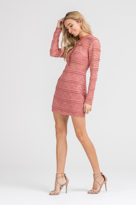 LACE MINI DRESS WITH LONG SLEEVES
