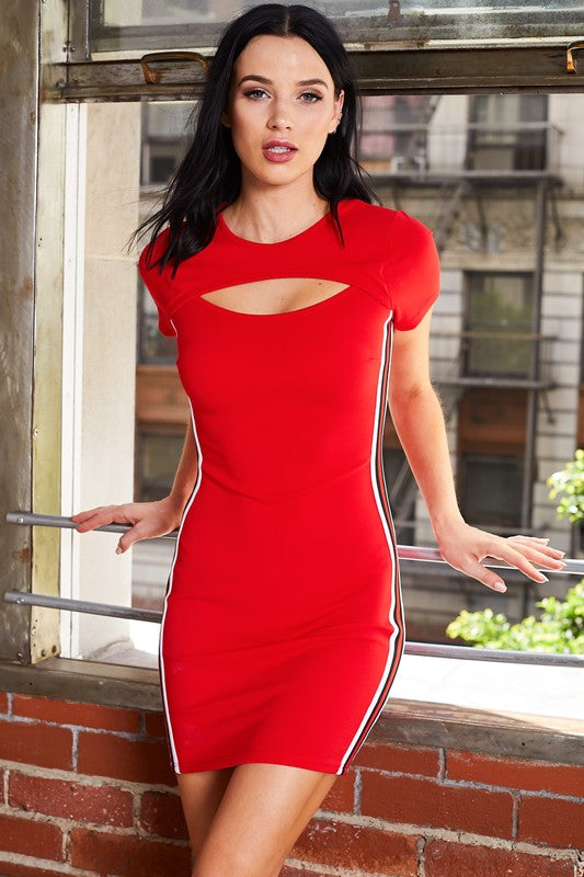 CHEST CUT OUT MINI DRESS