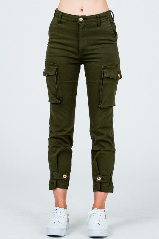 CUTE BUT COOL ADJUSTABLE CARGO SKINNY PANTS - Cielo Blue LA