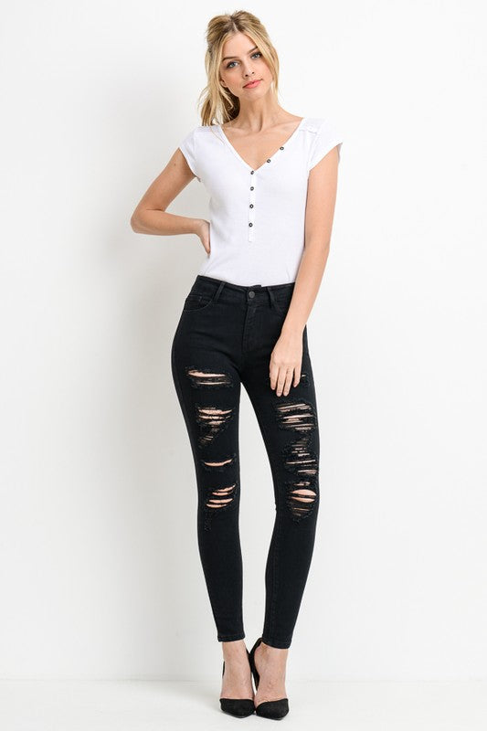 DISTRESSED HIGH WAISTED SKINNY JEANS - Cielo Blue LA
