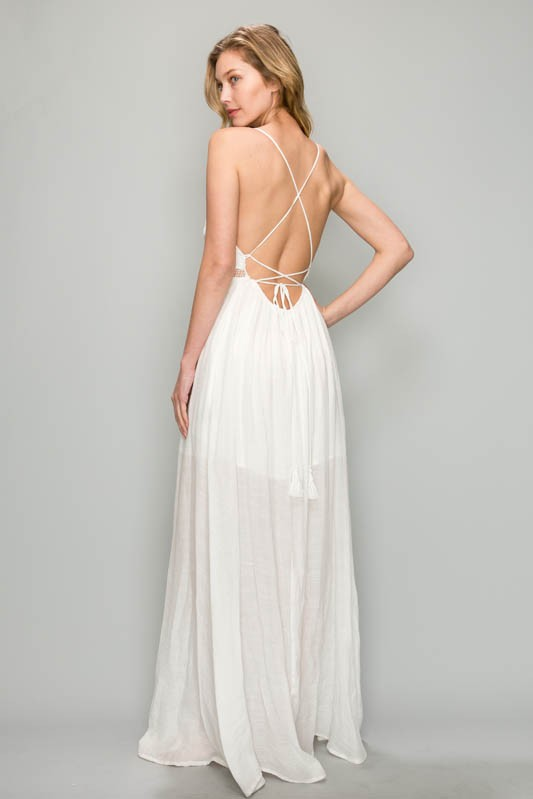 OPEN BACK LACE CONTRAST MAXI DRESS