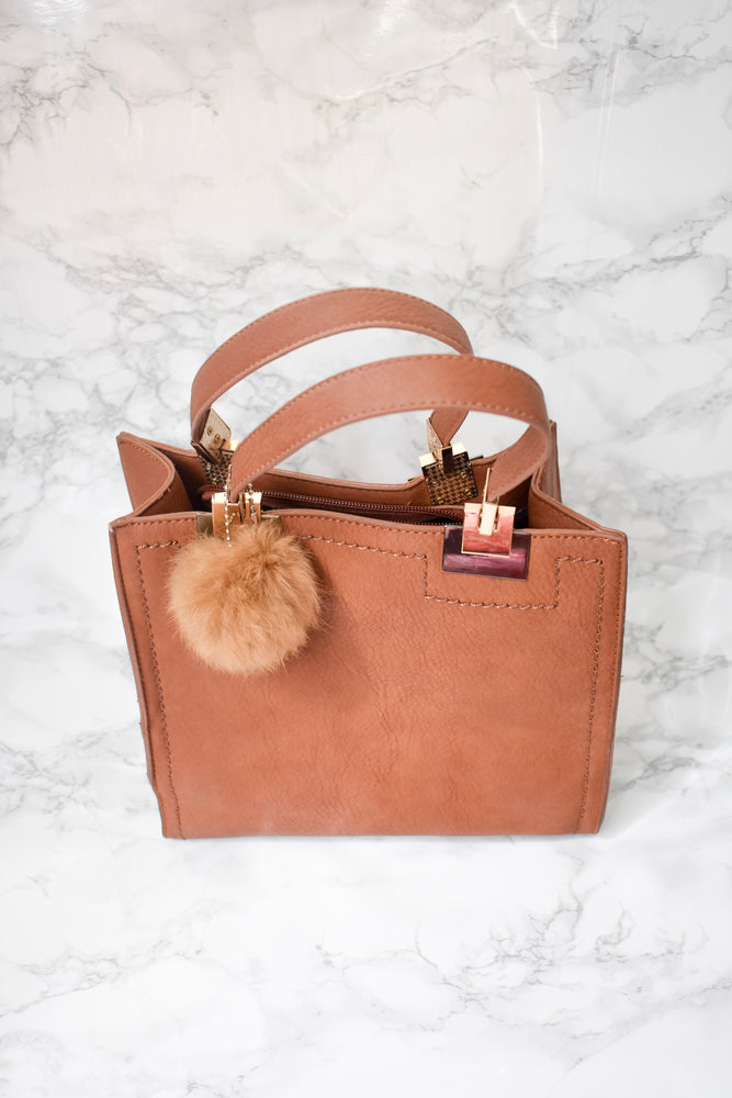 SHOULDER MINI BAG WITH FUR BALL - Cielo Blue LA