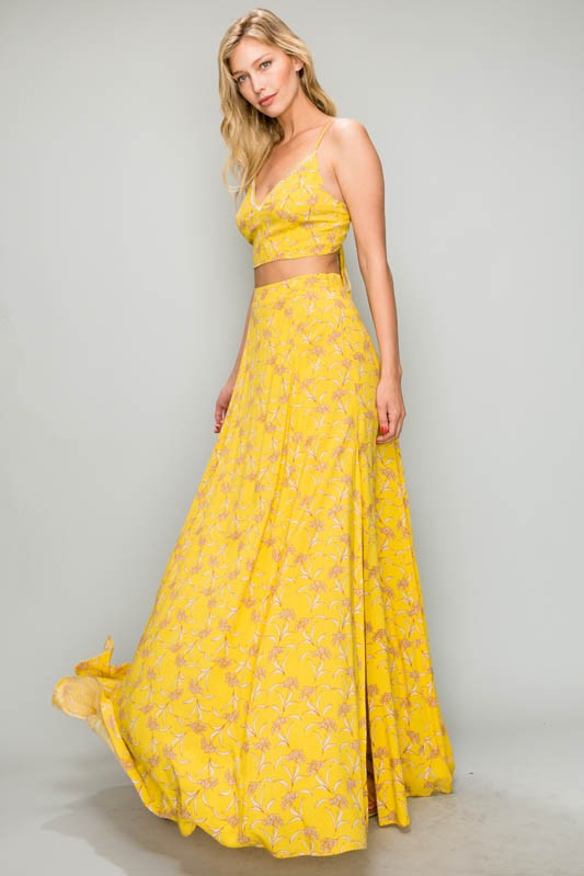 SUNFLOWER TIE BACK MAXI SET - Cielo Blue LA