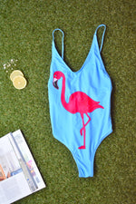 ONE PIECE FLAMINGO SWIMSUIT - Cielo Blue LA