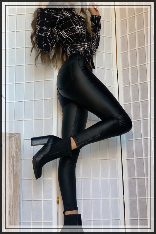 CAT WOMAN BLACK LEATHER PANTS - Cielo Blue LA