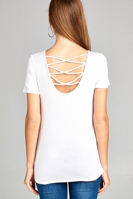 KNOT-FRONT WHITE TEE - Cielo Blue LA