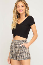 STYLISH TWEED SHORTS - Cielo Blue LA