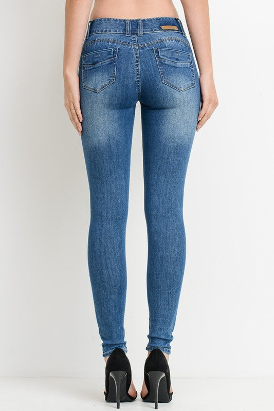 PUSH UP SKINNY JEANS MID RISE - Cielo Blue LA