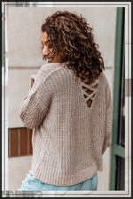 OPEN BACK SWEATER WITH CRISSCROSS STRAPS (Available in two colors)
