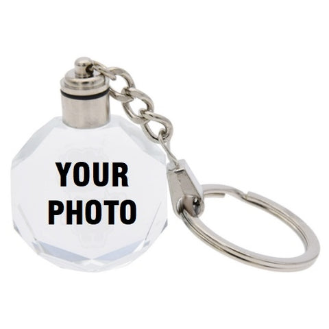Custom Colorful Changing Led Lights Crystal Glass Key Chain