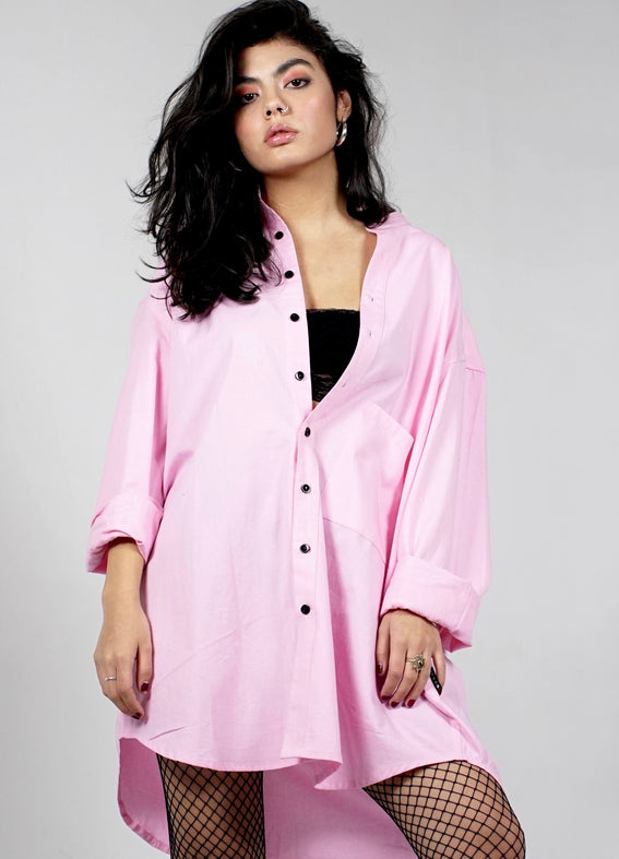 Oversized unisex shirt. Organic cotton. Pink