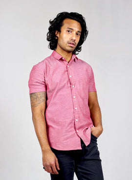 Short sleeved shirt. Organic cotton. Chambray Red
