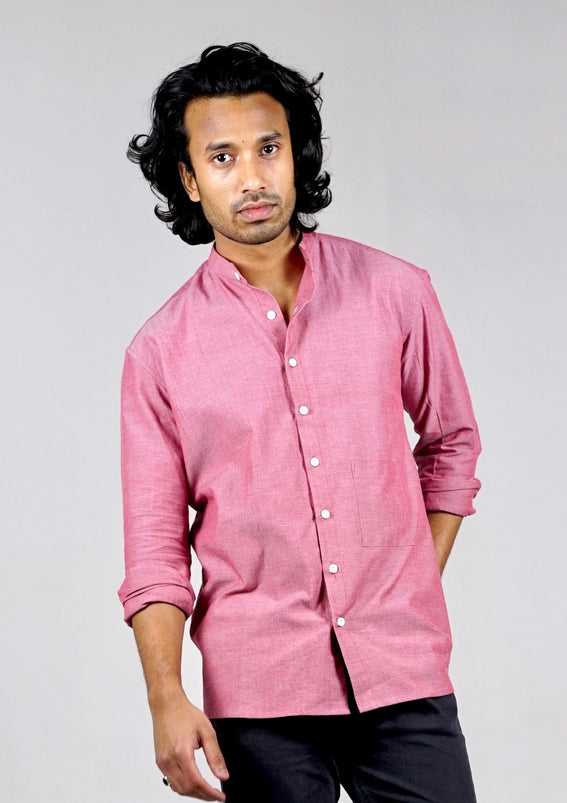 Long sleeved shirt. Organic cotton. Chambray Red