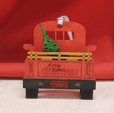 Vintage 3D Christmas Truck Ornament
