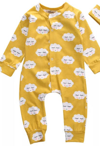 Mustard cloud baby grow