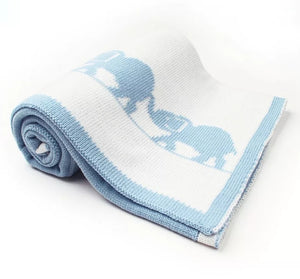 Reversable Elephant Blanket (Blue)