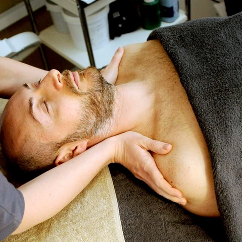 deep pressure therapy: Man getting a massage