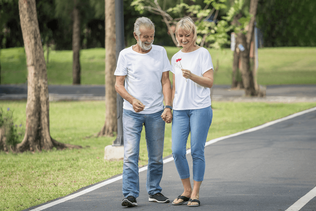 Happy elderly couple holding hands while walking in the part