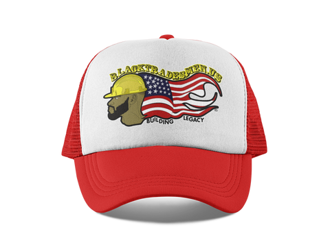 Classic Black Tradesmen U.S. Snapback Hat - Red & White