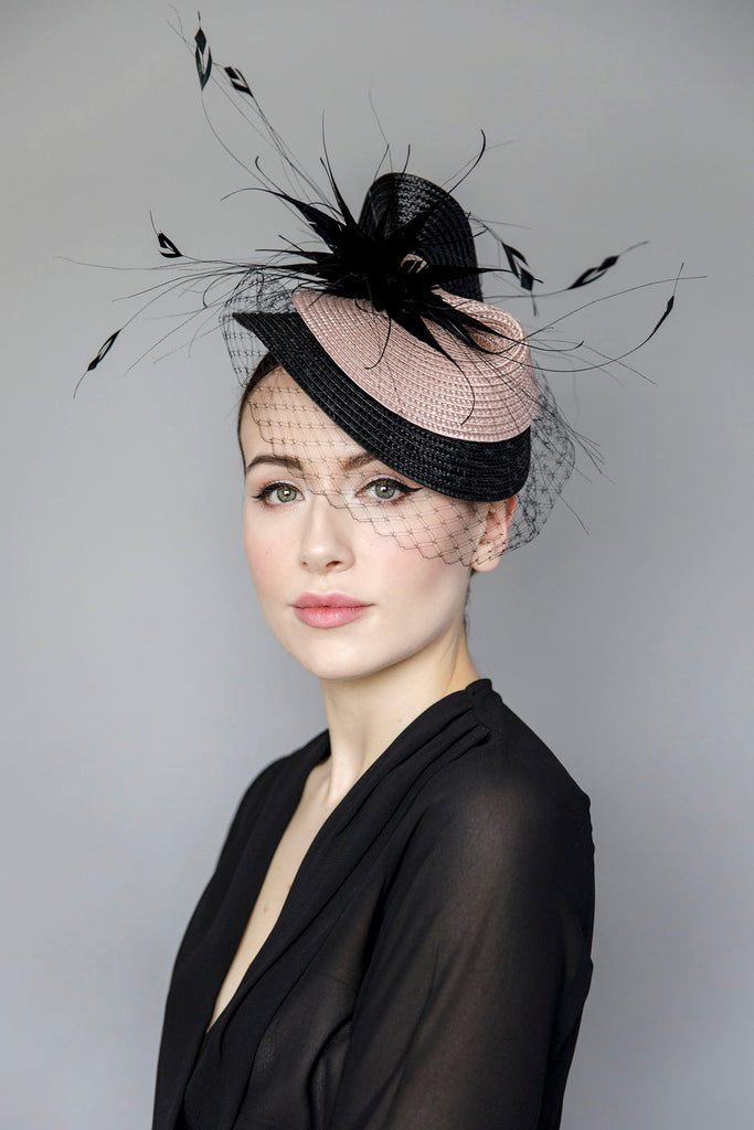 Rose Splash hat, Dramatic occasion Hat. Customer all-time favourite occasion hats.  Timeless millinery styles for all your occasions, whether you are attending a wedding, ladies day at the races, a cocktail soiree or garden party.