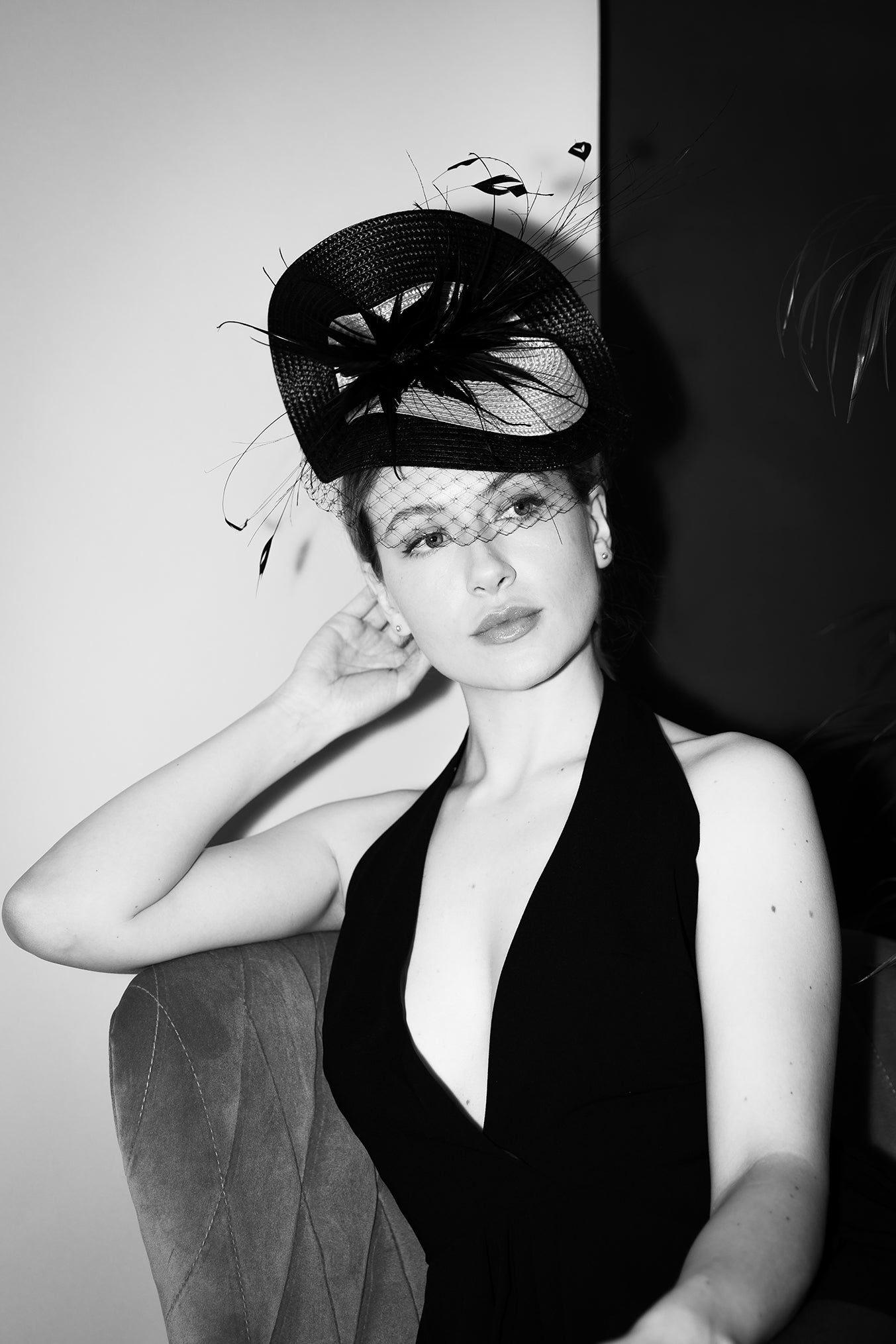 Model wears Maggie Mowbray Millinery