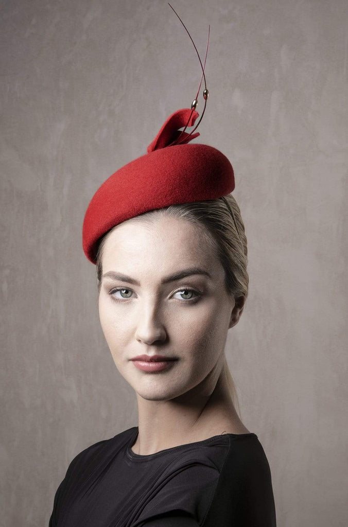 Red Calotte with Feather detail - Valdis - Maggie Mowbray Millinery