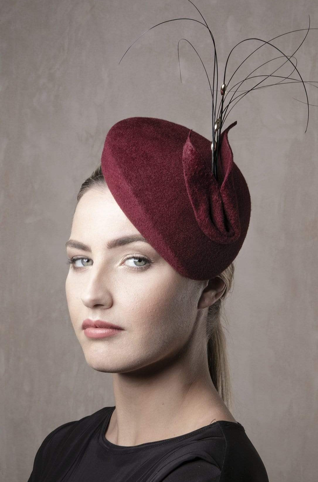 Feathered Calotte Beret 'Beatriz'