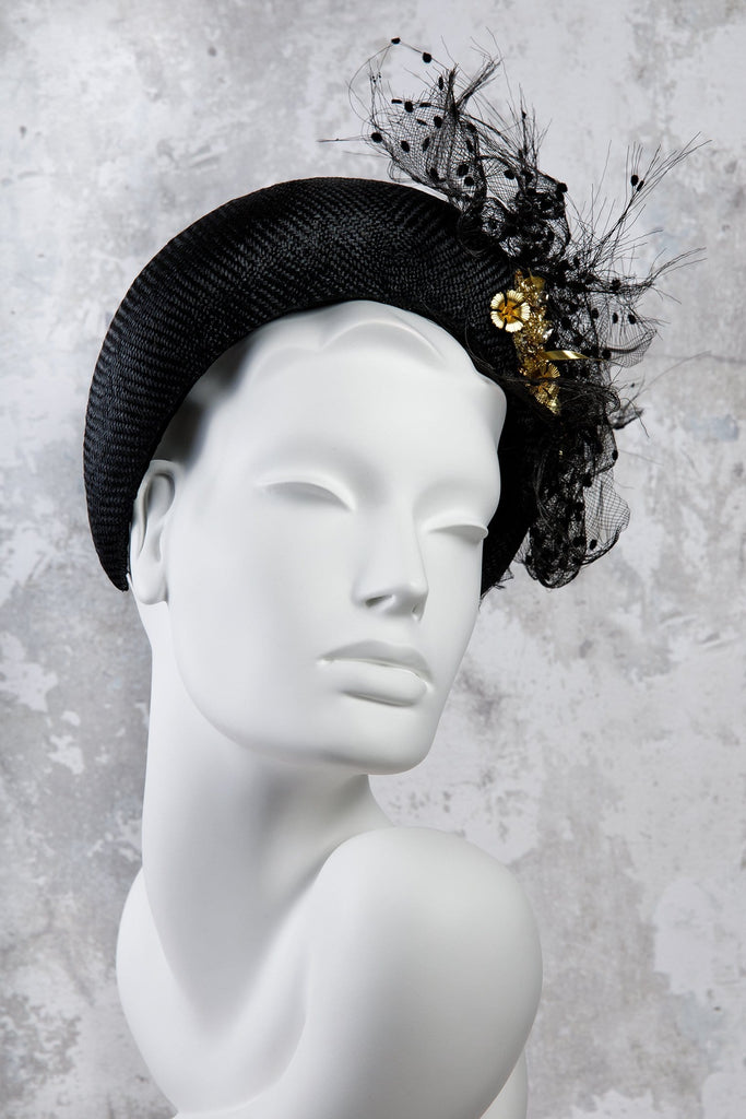 Beaded Parisisal Straw Halo Headband - Farrell - Maggie Mowbray Millinery