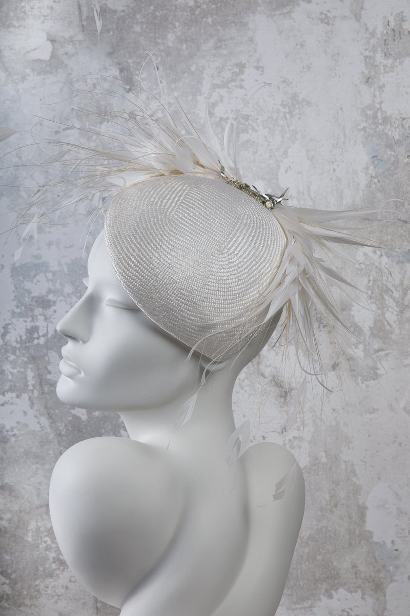 Parisisal Straw Percher Hat with Feathers - Tamara - Maggie Mowbray Millinery.  wedding millinery, wedding hat, hat for women, bride hat, bride to be hat, hat for brides, hat for ascot.