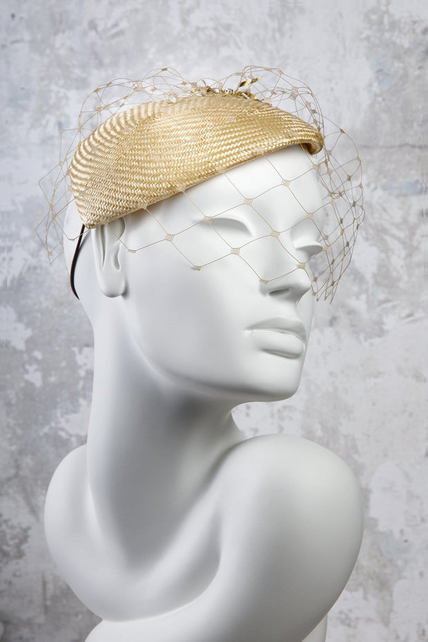 Beaded Straw Percher Hat with Veil - Darcey - Maggie Mowbray Millinery