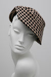 camel houndstooth hat by Maggie Mowbray Millinery
