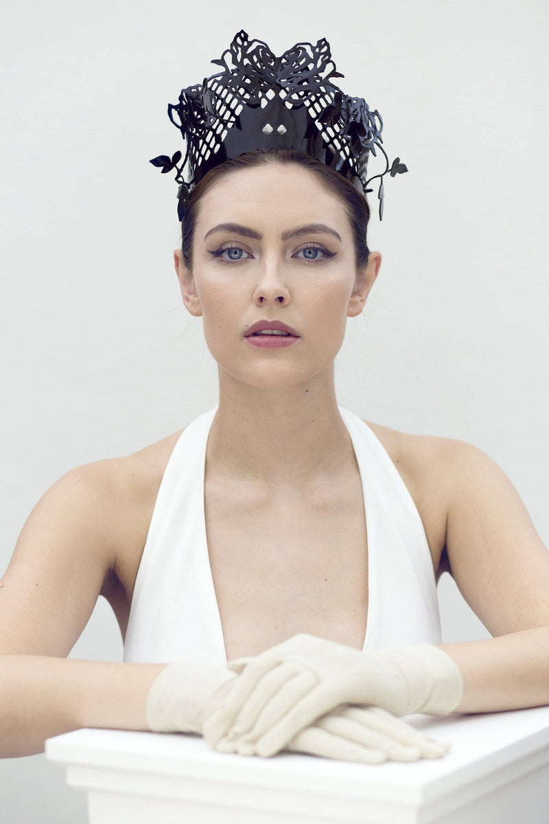 Leather Rose Crown - Ramone - Maggie Mowbray Millinery