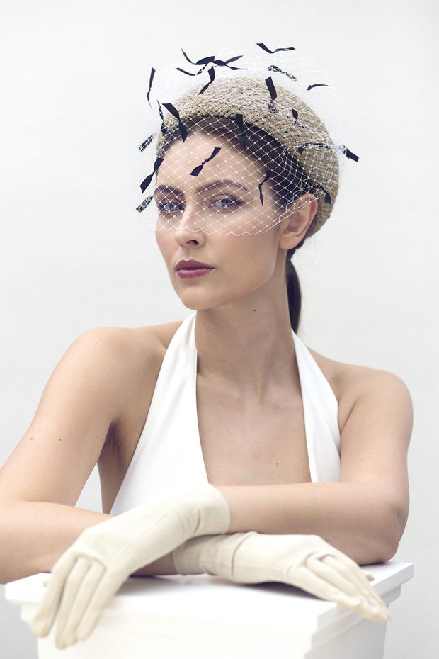 Veiled Jackie O Pillbox - Bérénice - Maggie Mowbray Millinery