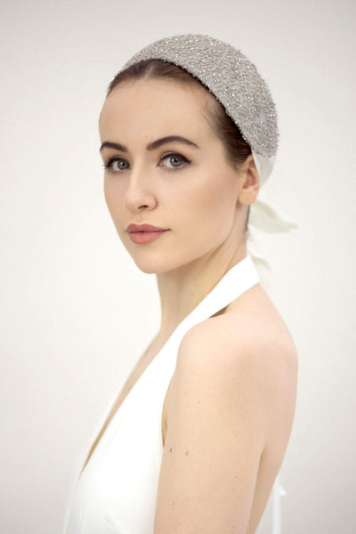 Pewter Bridal Headpiece - Katerina - Maggie Mowbray Millinery