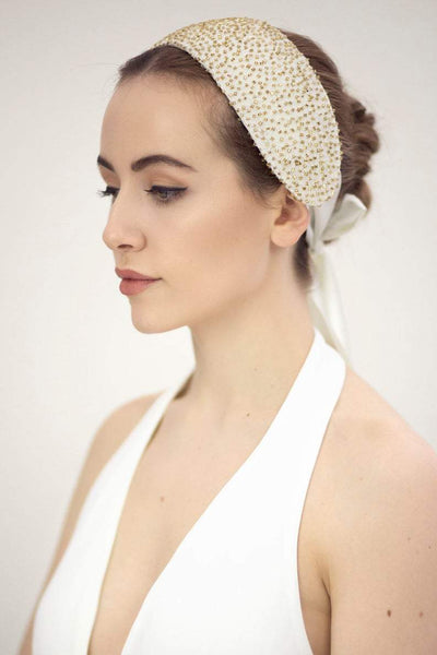 Gold Bridal Headpiece - Katerina - Maggie Mowbray Millinery