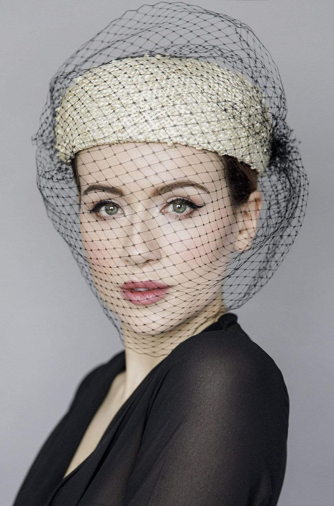Veiled Pillbox Hat - La Dama - Maggie Mowbray Millinery