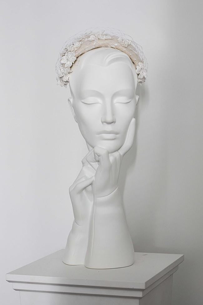 Floral Lace Veil Headband - Ianthia - Maggie Mowbray Millinery