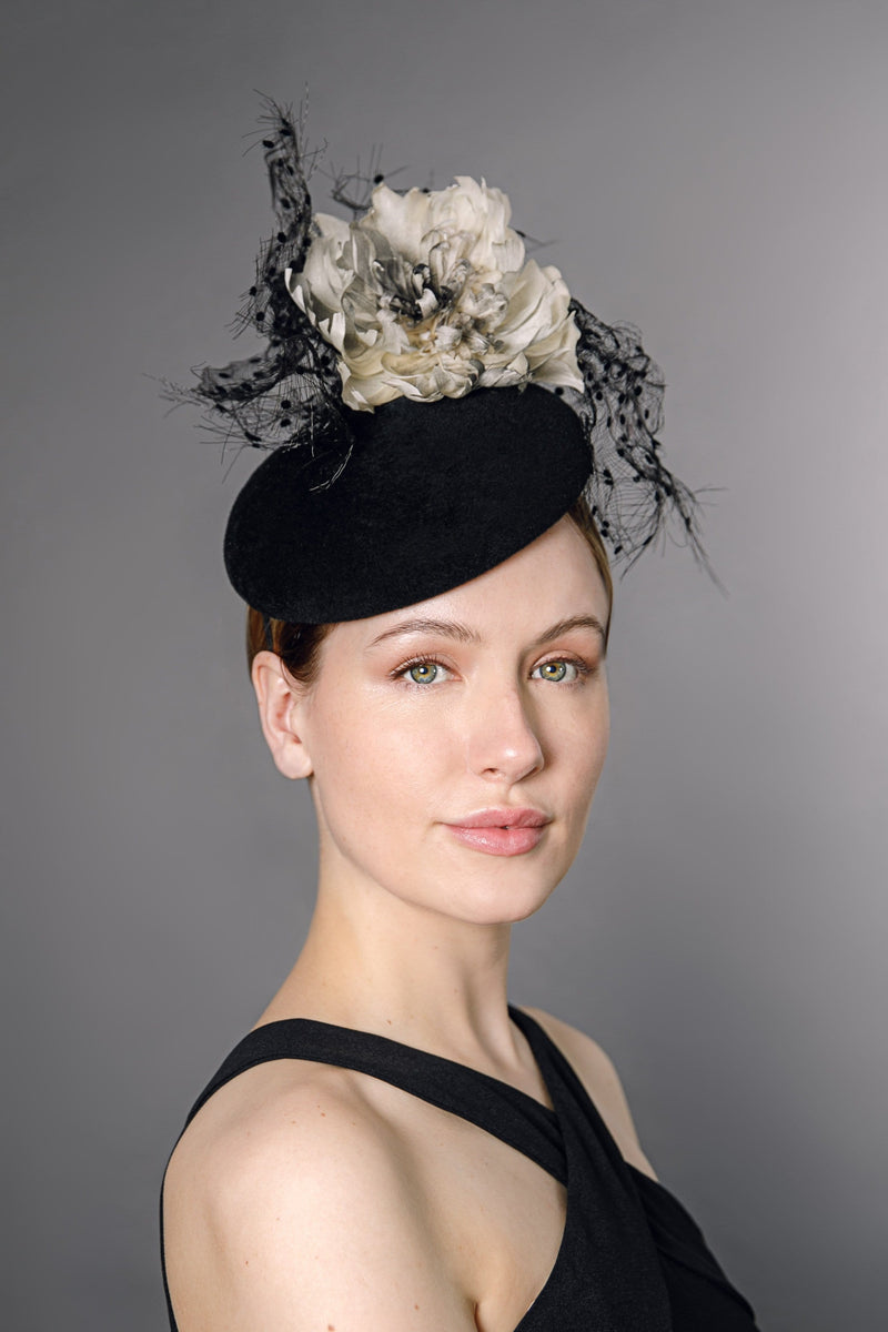 Beret with Flower and Crin - Kaja - Maggie Mowbray Millinery