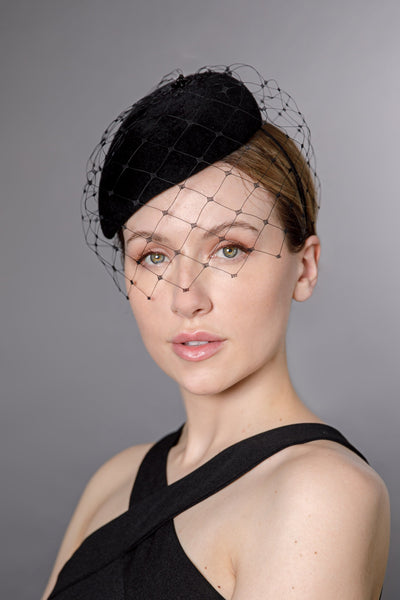 Veiled Percher Hat - Carina - Maggie Mowbray Millinery