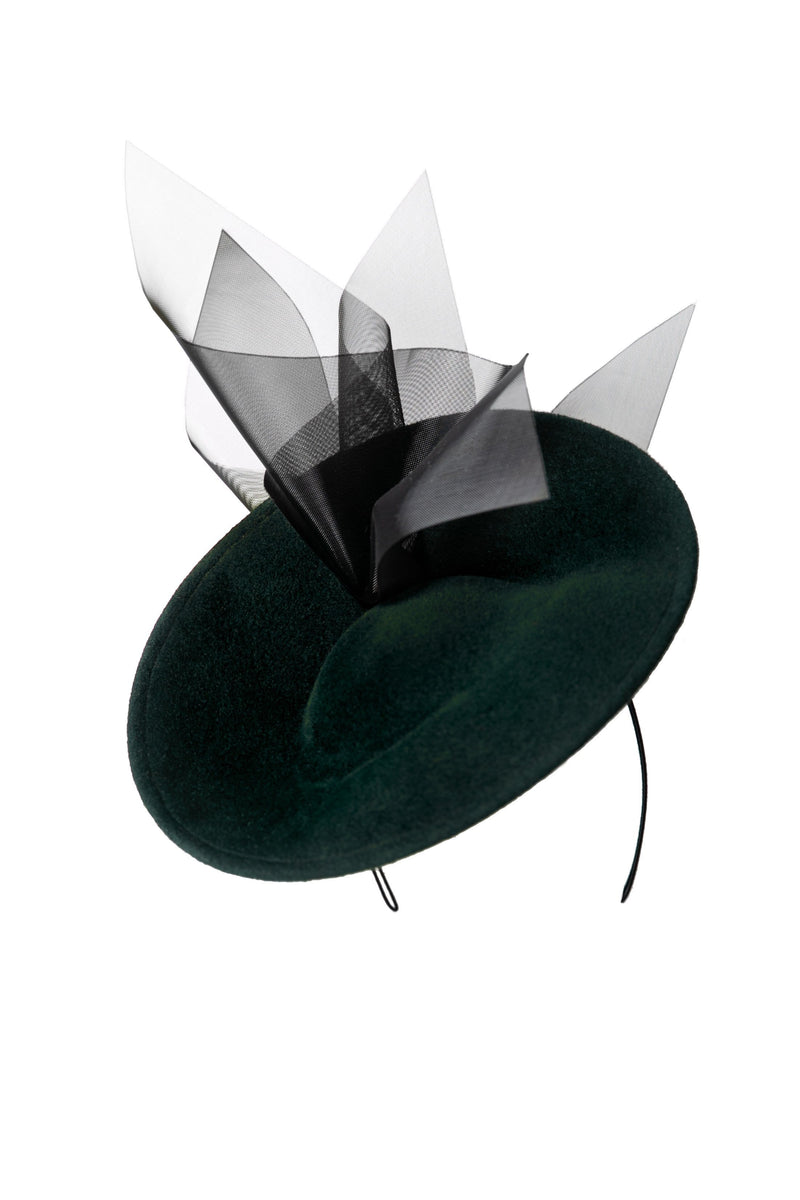 Saucer Hat  With Crin- Eila - Maggie Mowbray Millinery