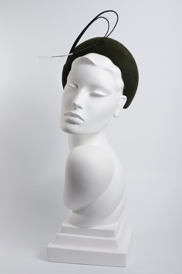 Felt Headband with Beaded Feather Detail - Maggie Mowbray Millinery