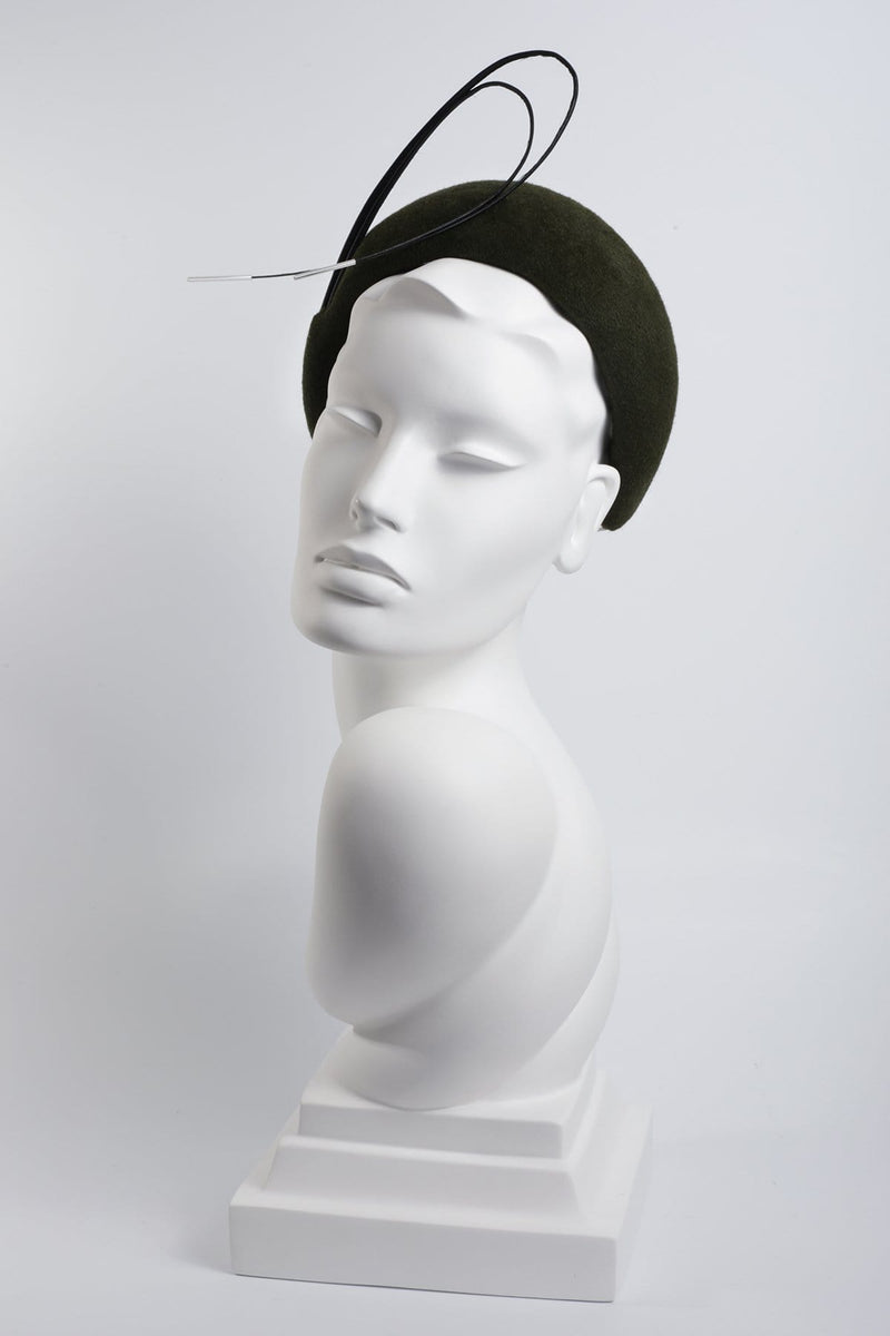 Felt Headband with Beaded Feather Detail 'Svana' - Maggie Mowbray Millinery