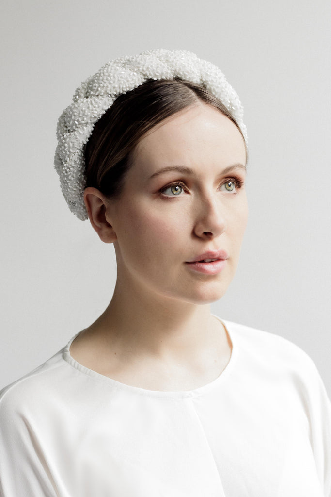Plaited Beaded Halo Headband - Hera - Maggie Mowbray Millinery