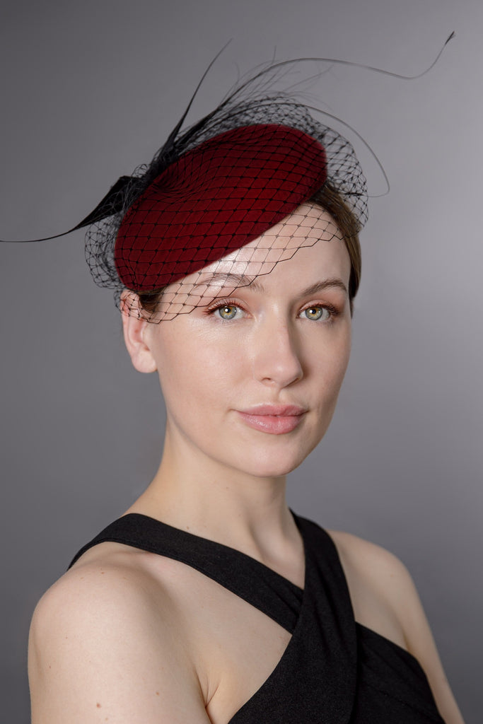 Felt Mini Beret with Feather Detail - Helene - Maggie Mowbray Millinery