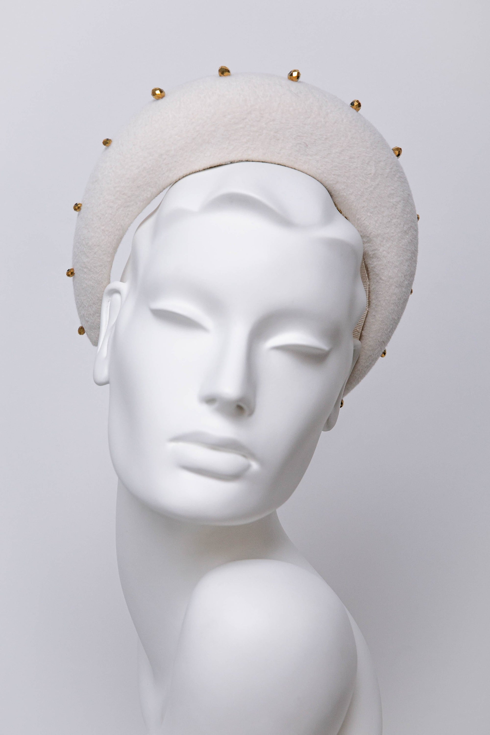Gold Beaded Halo Headband - Karena - Maggie Mowbray Millinery