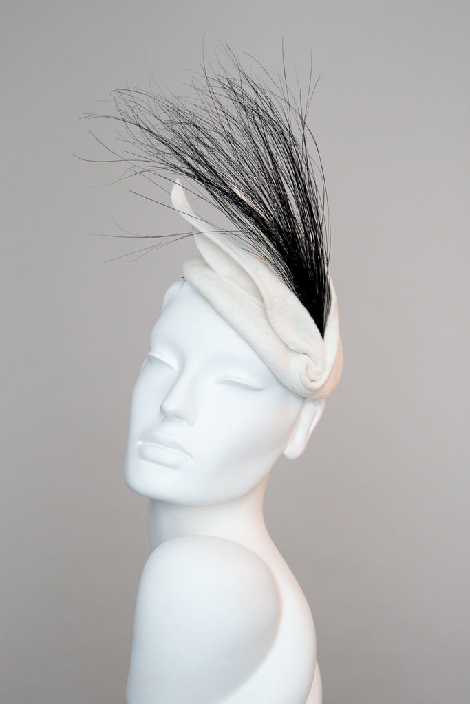 Felt Cocktail Hat with Leaf Detail - Louis - Maggie Mowbray Millinery