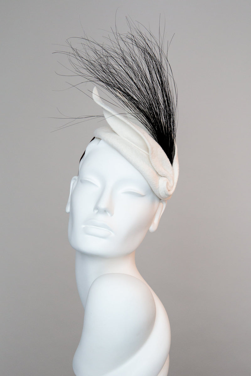 Felt Cocktail Hat with feather Detail - Louis - Maggie Mowbray Millinery