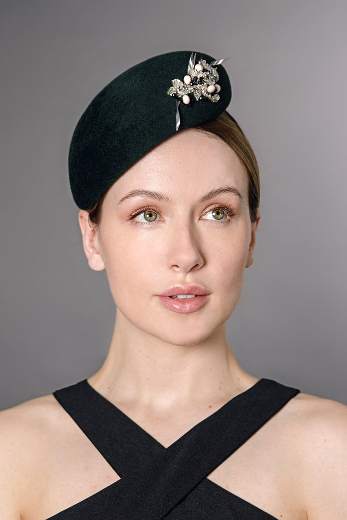 Percher Hat with Beads - Solveig - Maggie Mowbray Millinery