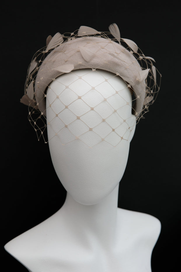 Veil & Feather Headpiece - Helena - Maggie Mowbray Millinery